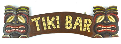 HAND CARVED TIKI BAR SIGN WITH TWO MASKS 3D