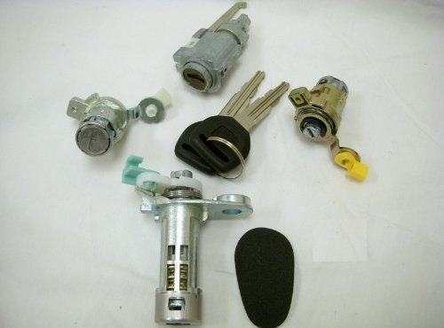 PT Auto Warehouse LS-14 - Ignition, Door, Trunk Lock Cylinders with Keys Set - without Alarm Buzzer, 4-Door Sedan Only (2001 Accord Ignition Switch compare prices)