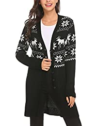 Women's Christmas Reindeer and Snowflakes Sweater Open Front Knit Cardigan