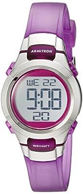 Armitron Sport Women's 45/7012TPR Digital Chronograph Purple Translucent Resin Strap Watch