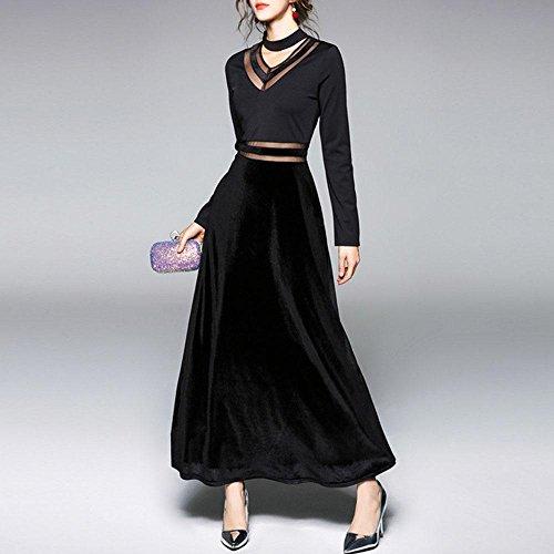 V lunga Velluto Black a primavera Sezione prospettiva cucita donna Abito della in in garza SSLW scollo nuova RC4Rqvp