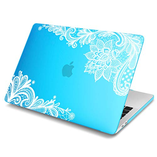 Batianda Lace Design MacBook AIR 13 inch Rubberized Hard Case for MacBook Air 13.3 (A1466 & A1369) Shell Cover Not Compatible with New 2018 Version with Retina (Sky Blue)