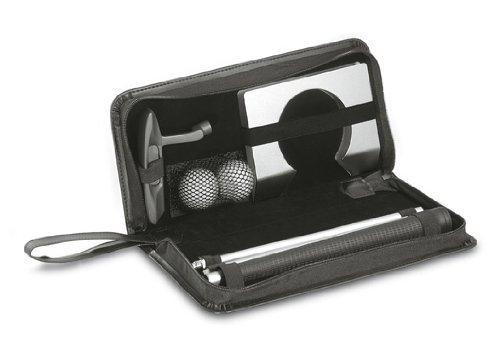 50403 - REFLECTS-LILLE - Golfset mit einem zerlegbaren Golfschläger, zwei weißen Golfbällen, Golfloch, in schwarzem Etui -