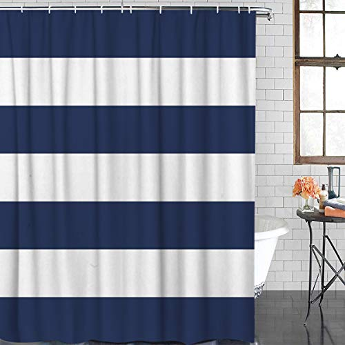 Anzona Durable Polyester Fabric Shower Curtains for Bathroom Stall 36'' x 72'' Nautical Stripes Navy Blue and White Waterproof Bathtub Curtains Set with Hooks
