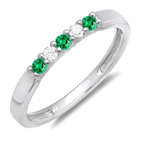 Emerald And White Diamond 5 Stone Ladies Anniversary Wedding Band Ring (Size 8.5) (Emerald Diamond Ring Settings)