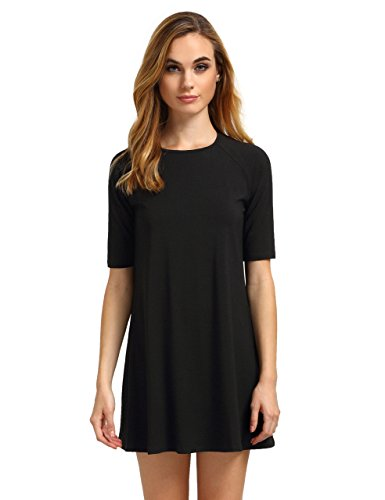 ROMWE Women's Short Sleeve Casual Loose Fit T-Shirt Tunic Dress Swing Dress