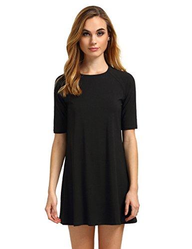 Romwe Womens Short Sleeve Casual Loose Fit T Shirt Tunic Dress Swing Dress Black M