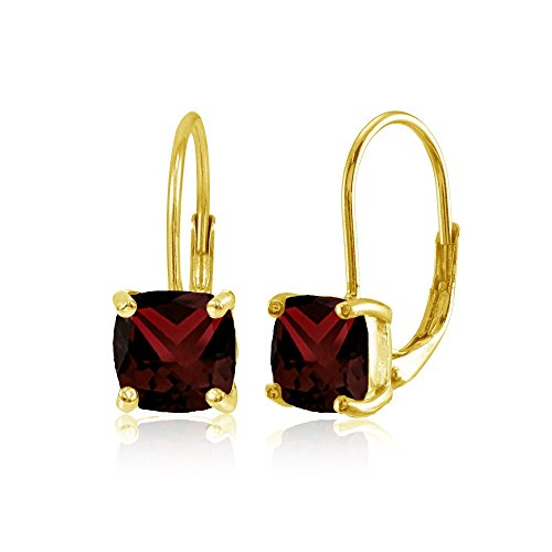 Yellow Gold Flashed Sterling Silver Garnet 7x7mm Cushion-Cut Leverback Earrings ()