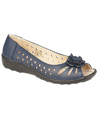 Fashion Friendly Ladies Navy Open Toe Slip On Shoes
