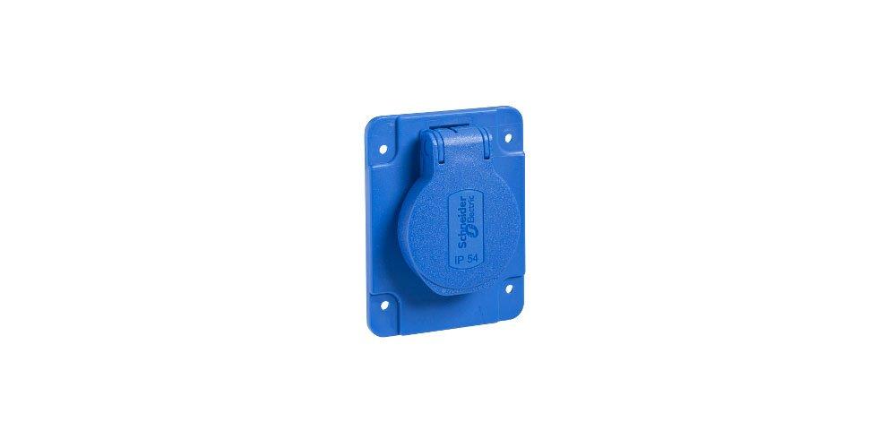 Schneider Electric Pkn61b Pratika Base prise NF, 65 mm x 85 mm Base, 2P + T Bâ tons, IP54, 10– 16 A, 50/60 Hz, 250 V, Bleu 65mm x 85mm Base 2P + T Bâtons 10-16A 50/60Hz 250V