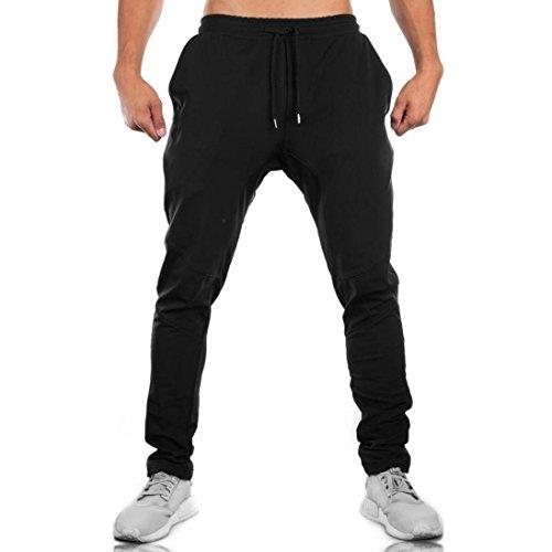 Windowpane Pant Trouser - Men Sweatpants,Caopixx Men's Slacks Casual Elastic Sportwear Baggy Jogging Pockets Trousers (Asia Size M=US Size S, Black)