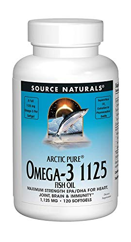 Source Naturals ArcticPure Omega-3 Fish Oil 1125mg Ultra Potency Maximum Strength EPA + DHA For Heart, Joint, Brain & Immune Health - 120 Softgels ()