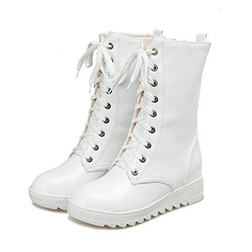 Fashion Lace Fur Warm Long Womens Mid Mid SHOPPING HAPPYLIVE Waterproof Heavy Cold Leather Snow Calf Up Fleece Lining Weather PU White Boots Snow Winter Casual Heel Motorcycle xzvOwxYq