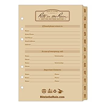 """Rite in the Rain All-Weather Weekly Calendar Set, 5"""" x 7"""", Tan Sheets, 65 Weeks (No. 9260W)"""