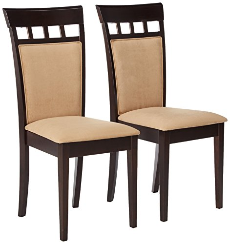 4 Chairs Coaster - Gabriel Upholstered Back Panel Side Chairs Cappuccino and Beige (Set of 2)