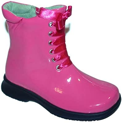 girls pink patent boots