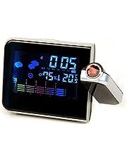 محطة للطقس بها ساعة و منبه وجهاز عرض ليد وبشاشة ال سي دي رقمية
