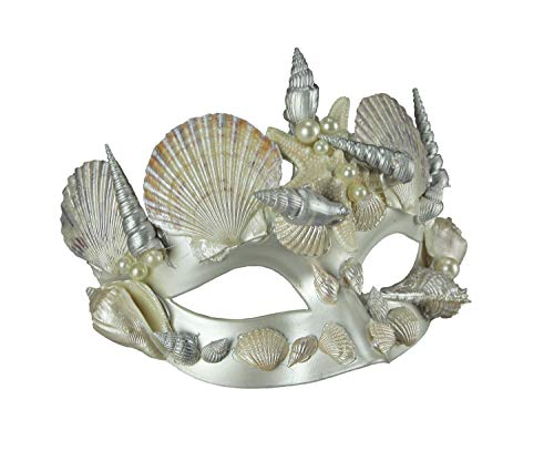Pearl White and Silver Seashell Mermaid Adult Halloween Mask (Masquerade Mask Pearl)