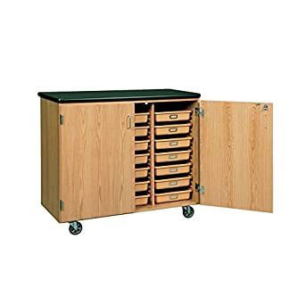 Diversified Woodcrafts 4751K Solid Oak Wood Mobile Tote Tray Storage Cabinet  With Plastic Laminate Top,