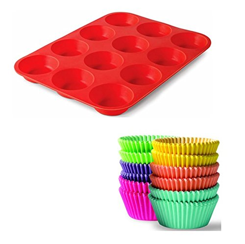 BaHoki Essentials 300 Piece Rainbow Colored Paper Baking Cups - Cupcake & Muffin Liners (Bundle)