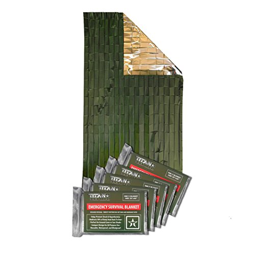 (Titan Two-Sided Mylar Emergency Survival Space Blankets, 5-Pack | Olive-Drab (27-000001))