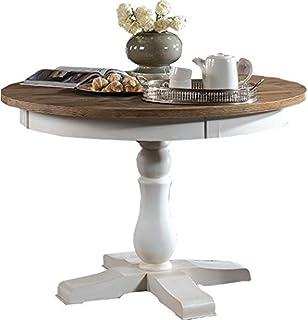 Esstisch weiß rund landhaus  CLP Holz Esszimmer-Tisch FABIA, rund, handgefertigt, Shabby chic ...