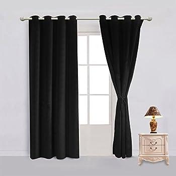 Amazon Com Maytex Velvet Blackout Panel Curtain Black
