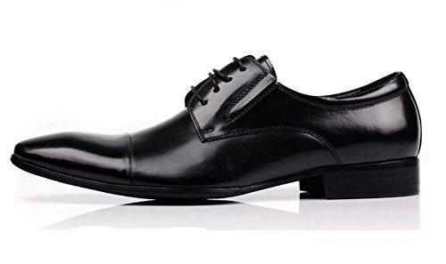 Hombres Negocio Con cordones Cuero Vestir Zapatos Formal marrón Negro Boda Punta puntiaguda Oxfords Plano tamaño 37-44 Black