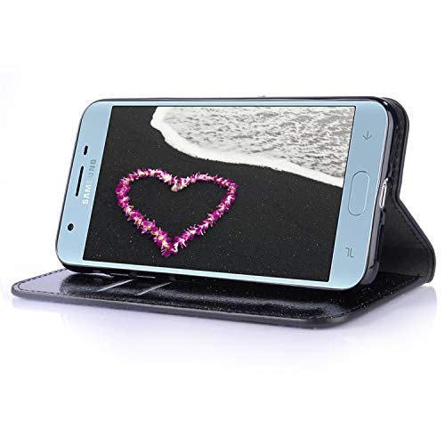 Samsung Samsung Diamond Wallet for Galaxy Rose Soft A6 2018 Buckle Premium Luxury Leather Glitter Butterfly Case 2018 Closure with Rubbe Herzzer A6 Case Cover Galaxy Flip Inner Stand Noir Bling for Gold Magnetic IIxPvdr