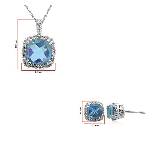 Jewelili - Parure - Argent 925 - Topaze - Diamant - 107654Z/STGSIL/RTB2/KA/SIL030RLO/STD