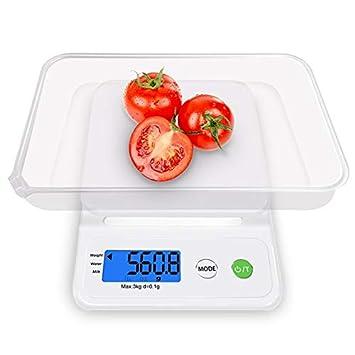 ZHANGYUGE Báscula de Cocina Peso Pantalla LCD Digital con precisión de una balanza electrónica de Cocina Hogar cocinar Alimentos precisión 3Kg/0,1G: ...