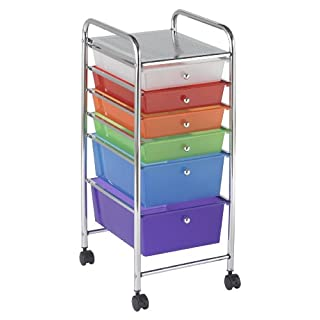 ECR4Kids 6 Drawer Mobile Organizer, Assorted Colors