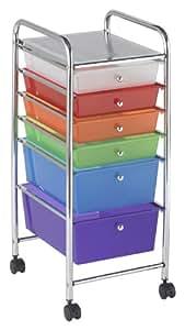 ECR4Kids 6-Drawer Mobile Organizer, Assorted Colors