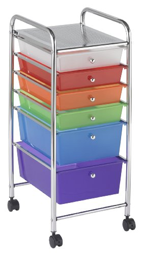 - ECR4Kids 6-Drawer Mobile Organizer, Assorted Colors