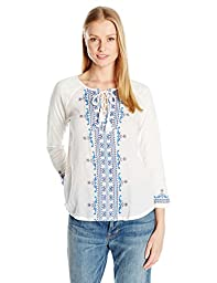 Lucky Brand Women\'s Embroidered Lace up Top, Lucky White, Small