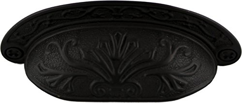Oil Rubbed Bronze Baroque Scroll Work Cup Pull - Antique Cabinet, Vintage Cupboard, Old Desk Reproduction Restoration Hardware + Free Bonus (Skeleton Key Badge) DL-P2683-064OB (6) by UNIQANTIQ HARDWARE SUPPLY (Image #2)