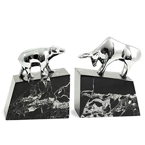 Silver Bull and Bear Bookends ()