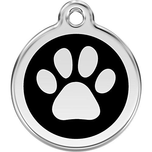 Red Dingo Personalized Paw Print Pet ID Dog Tag (Medium Black)