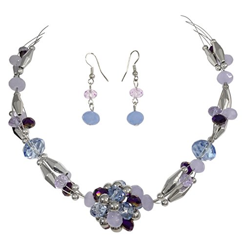 Beaded Ball Illusion Wire Lightweight Necklace and Dangle Earring Set (Purple and Blue)