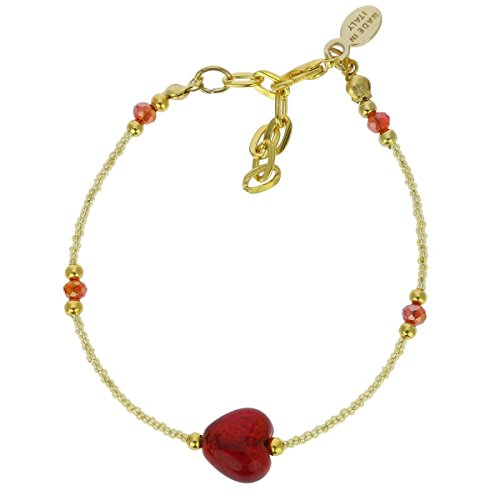 - GlassOfVenice Murano Glass Heart Bracelet - Ruby Red