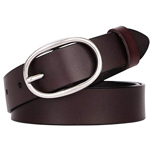 - Women's Cowhide Leather Belt Ladies Vintage Casual Belts for Jeans Shorts Pants Summer Dress for Women