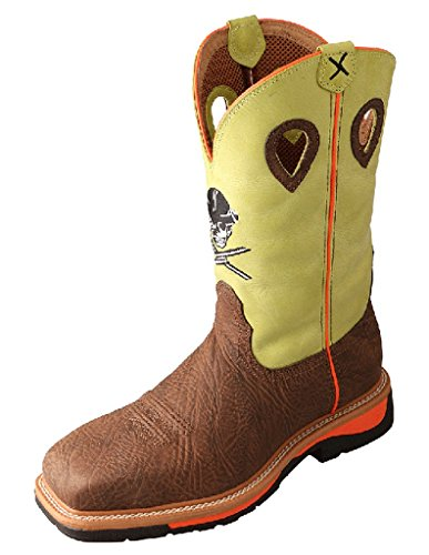 Twisted X Mens Yellow Leather Steel Toe Lite Weight Cowboy Work Boots 13D