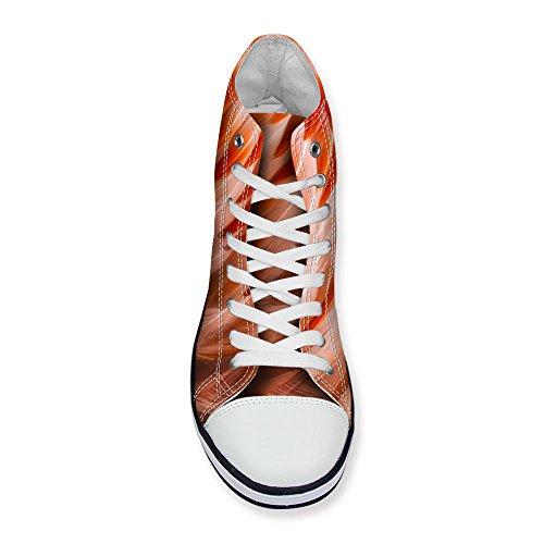 För U Designar Kvinna Hög Topp Canvas Platta Tillfälliga Mode Sneaker Löparskor Spets Rött