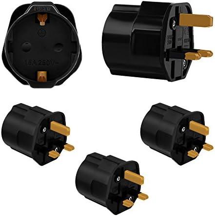 Incutex 3X adaptadores de Viaje UK, GB, Inglaterra Schuko, 2 Patas Europa hacia 3 Patas RU, Negro: Amazon.es: Electrónica
