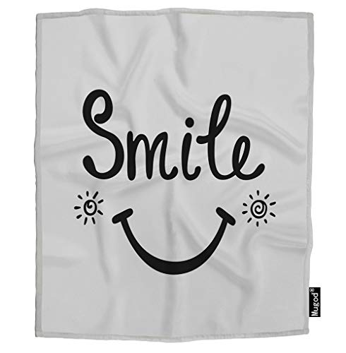 Mugod Smile Blanket Inspirational Positive Quote About Happy Sun Black and White Fuzzy Soft Cozy Warm Flannel Throw Blankets for Adults Kids Women Men Girls Boys Bedroom 60x80 Inch