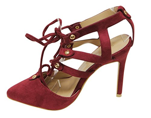 Forever Katelyn-22 Womens Stiletto Strappy Metal Dot Lace up Dress Almond Toe Sandals Burgandy 3p79IT3UG