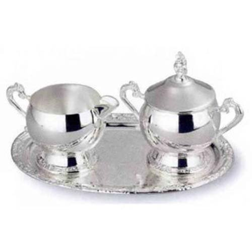 ROMANTICA CREAM AND SUGAR - ROMANTICA COLLECTION SILVER CREAM AND SUGAR WITH TRAY