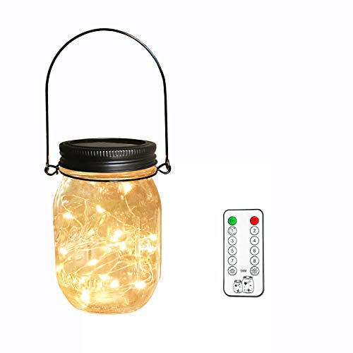 Solar Mason Jar Lights,Remote Control 8 Lighting Modes 20 LEDs waterproof Fairy Firefly String Lights for Mason Jar, Best Patio Yard Party Wedding Decor Lanterns (1-Pack Remote Control (Black Cap)) by Aubasic