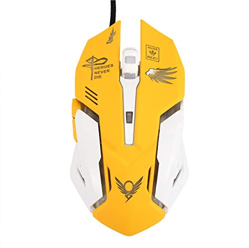 Gaming Mouse, Backlit Optical Game Mice Ergonomic USB Wired with 2400 DPI and 6 Buttons 4 Shooting for for PC& Mac E-Sports Gamers (Mercy)
