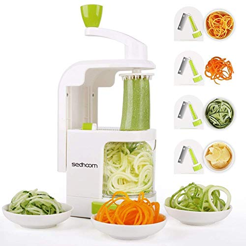 Sedhoom 4-Blade Spiralizer Vegetable Slicer Zucchini Spaghetti Maker Vertical Crank Spiralizer Noodle Maker Veggie Pasta Maker for Low Carb Paleo Gluten-Free Meals, Warm White (Best Vegetable Pasta Maker)